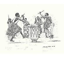 African Tribal Drummers Photographic Print