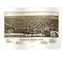 Panoramic Maps Bird's eye view of Cheney Wash Ter county seat of Spokane County 1884 Poster