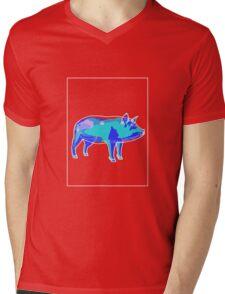 Pig Blue Green B Mens V-Neck T-Shirt