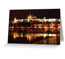 Prague Castle at Night. View 3 Greeting Card