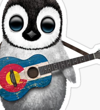 Baby Penguin Playing Colorado Flag Guitar Sticker