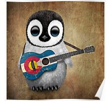 Baby Penguin Playing Colorado Flag Guitar Poster