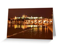 Prague Castle at Night. View 4 Greeting Card