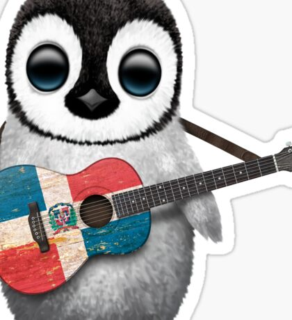 Baby Penguin Playing Dominican Republic Flag Guitar Sticker
