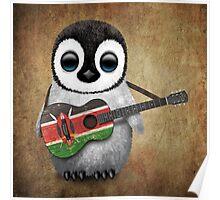 Baby Penguin Playing Kenyan Flag Guitar Poster