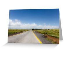 Straight road to vanishing point on the horizon with no traffic. Greeting Card