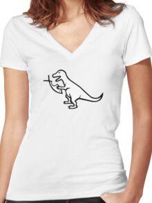 T-Rex VS Religion Women's Fitted V-Neck T-Shirt