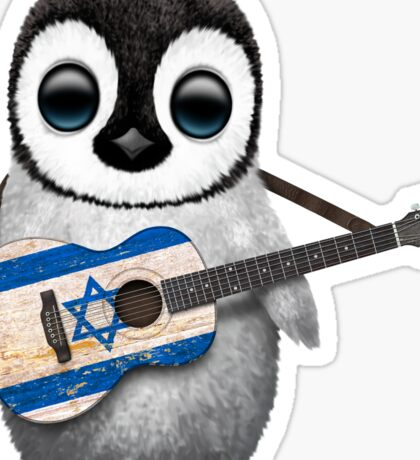 Baby Penguin Playing Israeli Flag Guitar Sticker