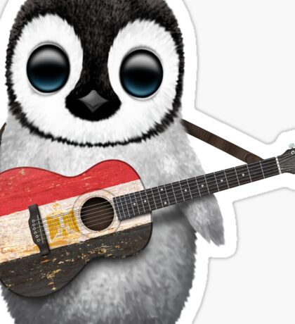 Baby Penguin Playing Egyptian Flag Guitar Sticker