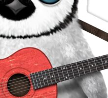 Baby Penguin Playing Taiwanese Flag Guitar Sticker