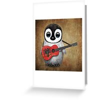 Baby Penguin Playing Albanian Flag Guitar Greeting Card