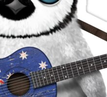 Baby Penguin Playing Australian Flag Guitar Sticker