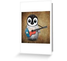 Baby Penguin Playing Texas Flag Guitar Greeting Card