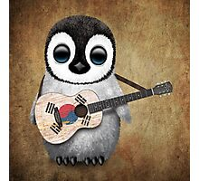 Baby Penguin Playing South Korean Flag Guitar Photographic Print