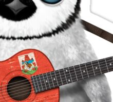 Baby Penguin Playing Bermuda Flag Guitar Sticker
