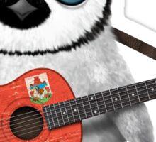 Baby Penguin Playing Bermuda Flag Guitar Sticker