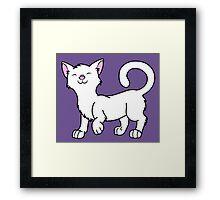 Happy White Kitten Framed Print