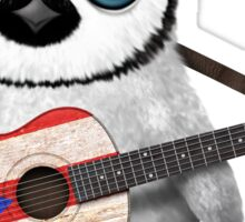 Baby Penguin Playing Puerto Rico Flag Guitar Sticker