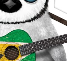 Baby Penguin Playing Guyanese Flag Guitar Sticker