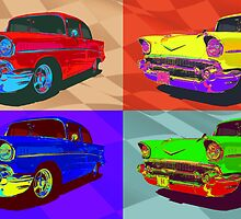 Chevy Bel Air 57, Pop Art style digital illustration. by htrdesigns