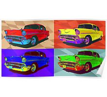Chevy Bel Air 57, Pop Art style digital illustration. Poster
