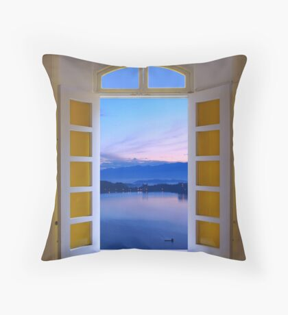 Window View of Dawn at the Sun Moon Lake Throw Pillow
