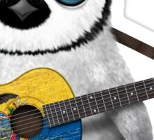 Baby Penguin Playing Ecuadorian Flag Guitar Sticker