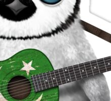 Baby Penguin Playing Pakistani Flag Guitar Sticker