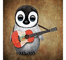 Baby Penguin Playing Peruvian Flag Guitar Photographic Print