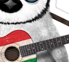 Baby Penguin Playing Hungarian Flag Guitar Sticker