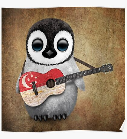 Baby Penguin Playing Singapore Flag Guitar Poster