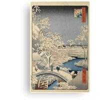Japanese Print: Snow on Bridge Canvas Print
