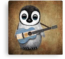 Baby Penguin Playing Argentinian Flag Guitar Canvas Print