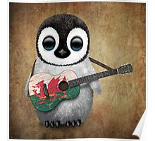 Baby Penguin Playing Welsh Flag Guitar Poster