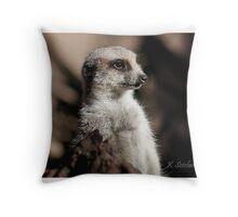 Meerkat in the shadow Throw Pillow