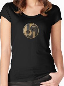 Old and Worn Acoustic Guitars Yin Yang Women's Fitted Scoop T-Shirt