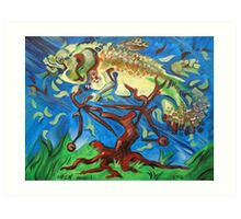Fish on a Bicycle in a Tree Art Print