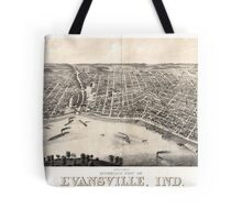 Panoramic Maps view of Evansville Ind 1880 Tote Bag