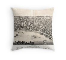 Panoramic Maps view of Evansville Ind 1880 Throw Pillow