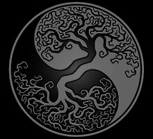 Gray and Black Tree of Life Yin Yang by Jeff Bartels