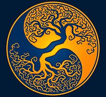Yellow and Blue Tree of Life Yin Yang by Jeff Bartels