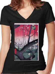 Japanese Print: Cherry Blossoms - Red Women's Fitted V-Neck T-Shirt
