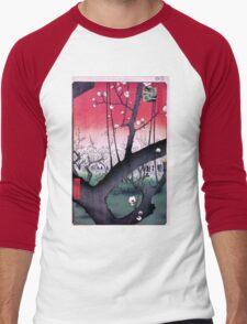 Japanese Print: Cherry Blossoms - Red Men's Baseball ¾ T-Shirt