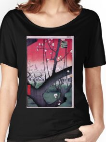 Japanese Print: Cherry Blossoms - Red Women's Relaxed Fit T-Shirt