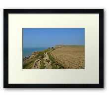 Hiking on the cliffs in Nord-Pas-de-Calais Framed Print