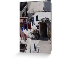 Drying Laundry at the Roof of the House - Secando Ropa en el Techo de la Casa Greeting Card