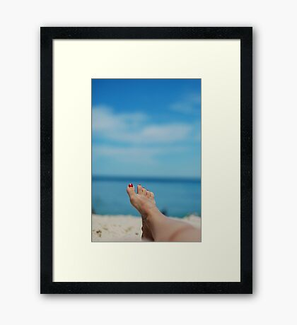 my feet, on holiday Framed Print