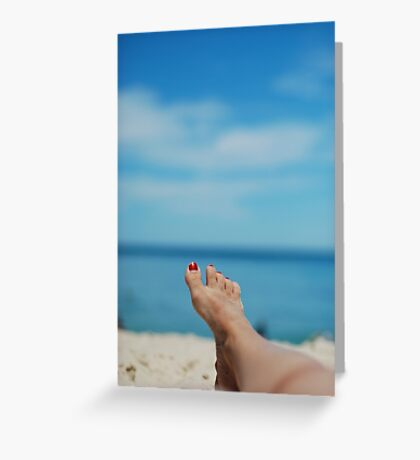 my feet, on holiday Greeting Card