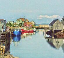 Peggys Cove Village Nova Scotia Canada by Shawna Mac