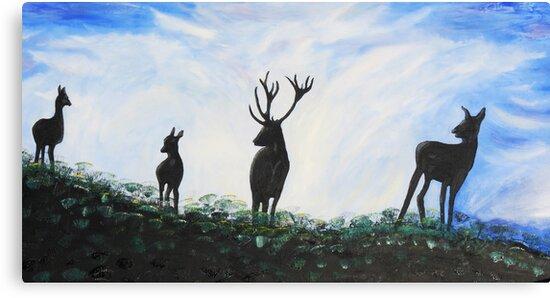 Stag Family by Dawn B Davies-McIninch